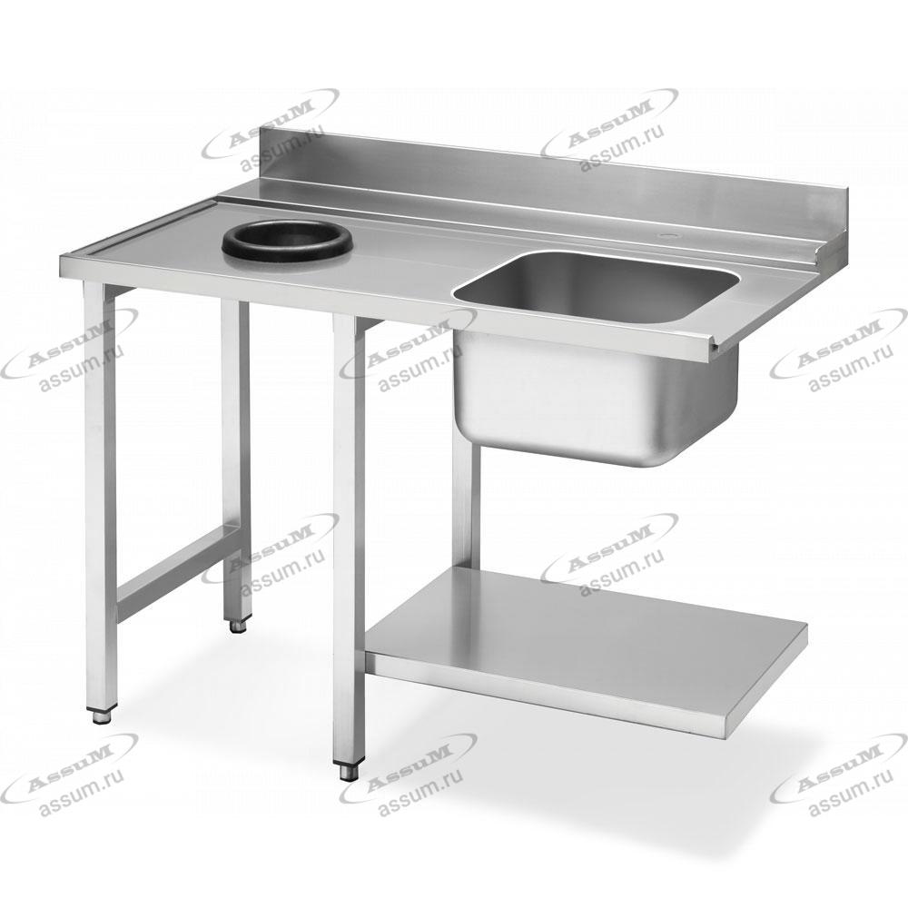 Стол с мойкой и отверстием для слива для посудомоечных машин купольного типа, соединение слева WT51200SHL