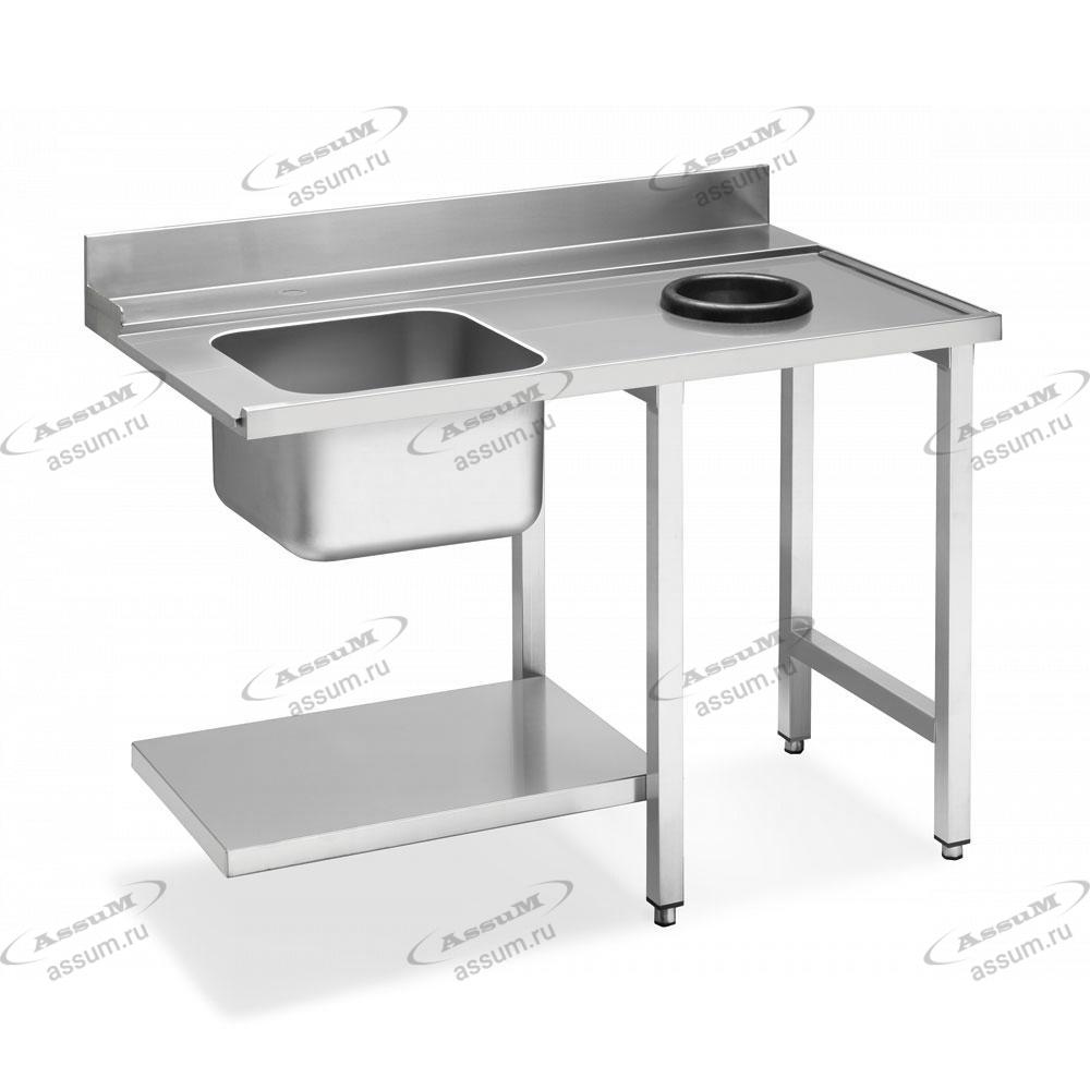 Стол с мойкой и отверстием для слива для посудомоечных машин купольного типа, соединение справа WT51200SHR