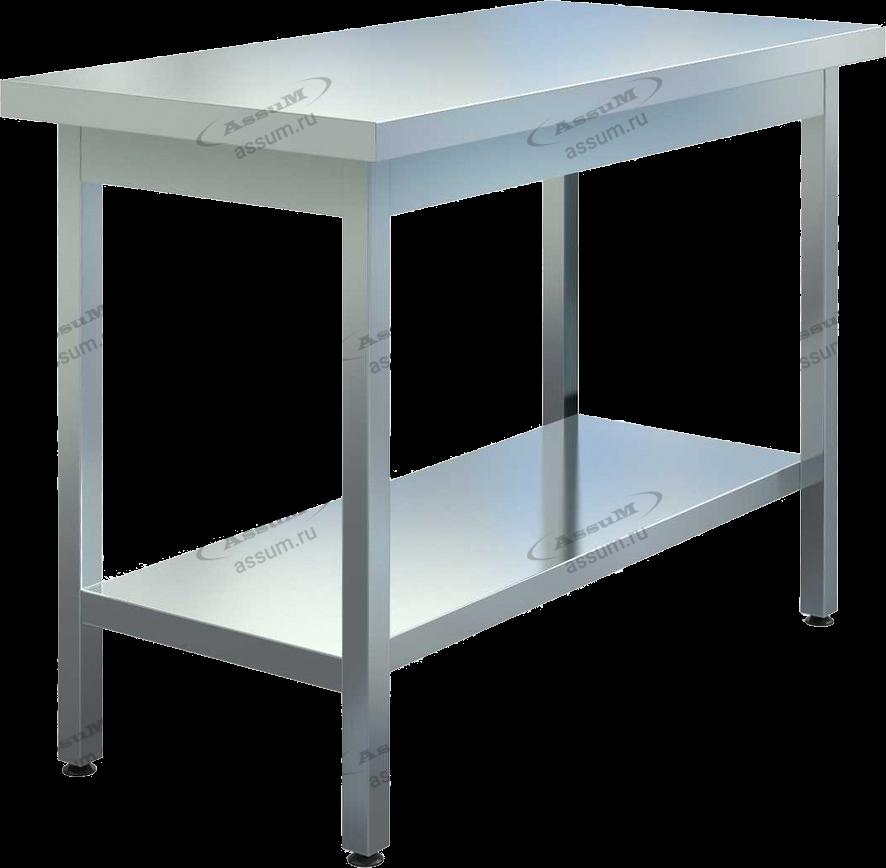 Стол на оцинкованном каркасе без борта, столешница AISI430, полка сплошная из оцинкованной стали